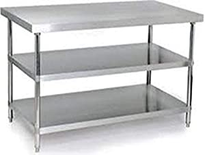 DG DEXAGLOBAL Stainless Steel Kitchen Working Heavy Steel Table Workbench Bench for Food and Storage Size - 31x23x31 (LBH in Inch)