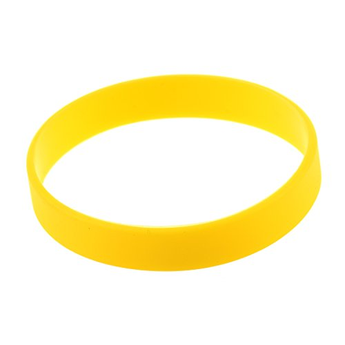 TOOGOO Brazalete de puno Munequera Pulsera de Elasticidad de Moda de Goma de Silicona Amarillo