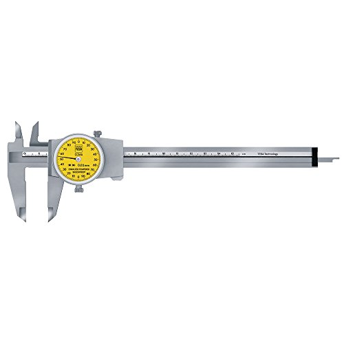 TESA Messschieber mit Rundskala 150 mm / 0,02 mm TESA CCMA-M 00510008 mit eckigem Tiefenmaß 2 mm pro Zeigerumdrehung, Ohne Antriebsrad Aktionspreis gültig bis 30.06.2020