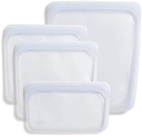 Stasher 100 Silicone Food Grade Reusable Storage Bag Clear Bundle 4 Pack Small Reduce Single product image