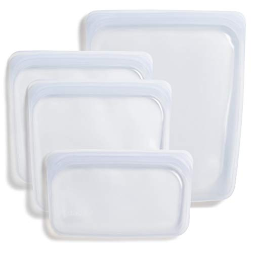 Stasher Platinum Silicone Food Grade Reusable Storage Bag, Clear (Bundle 4-Pack Small) | Reduce Single-Use Plastic | Cook, Store, Sous Vide, or Freeze | Leakproof, Dishwasher-Safe, Eco-friendly, Non-Toxic