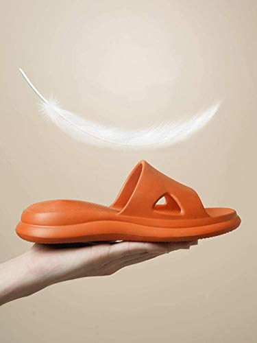 Ergonómica flip-flops del dedo del pie de la correa de las sandalias, zapatillas de suela gruesa desodorantes antideslizantes, zapatillas de baño-36-37_orange suave con suela de desagüe del baño, rápi
