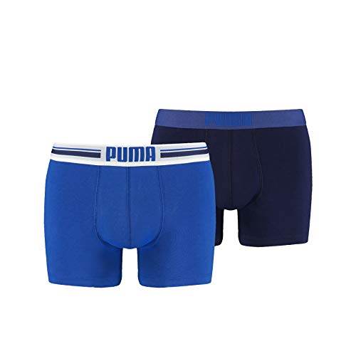 Puma - Placed Logo Boxer 2P - Homme - Bleu - Large - Lot de 2