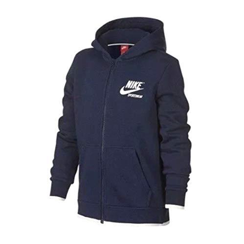 Nike Men's Sportswear Logo Archive Full Zip Hoodie AJ 7925 452 Size Large Navy/White