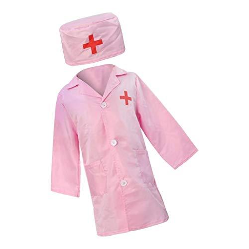 lahomia Disfraz de Cosplay para Nios, Enfermera, Doctor, Juego de Roles, Ropa de Manga Larga, Sombrero - Rosado, 94x65cm
