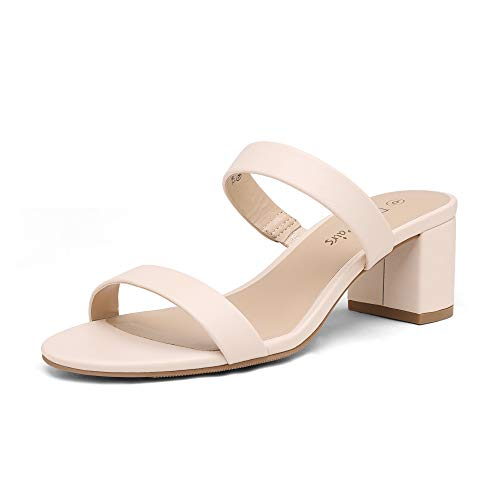 DREAM PAIRS Women's Dhs213 Two Strap Open Toe Low Block Chunky Heels Sandals Dress Pumps Shoes, Apricont Nude Pu, Size 8.5
