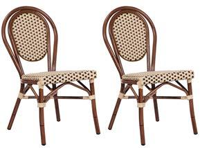 pemora 2-er Set Gartenstühle Bambu Bambusoptik Metallstuhl Gartenstuhl Outdoor-Stuhl in beige-braun