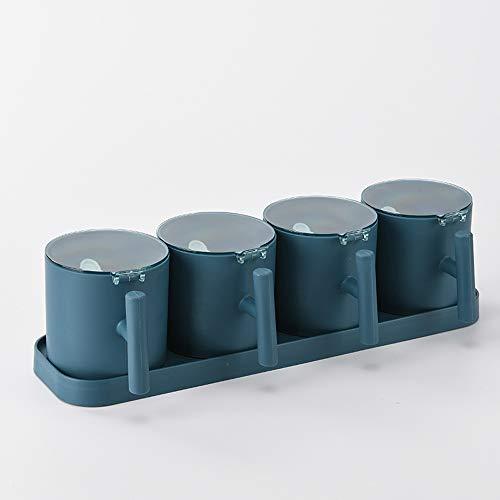 Guoz Conjunto Caja Condimentos Cocina Cuatro Rejillas Rack Ollas Especias Contenedor Almacenamiento Frascos Condimentos con Cuchara para la Cocina Hogar