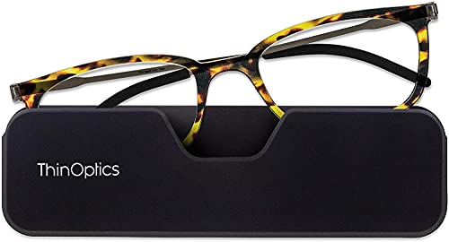 ThinOptics Gafas de lectura ultrafinas +3.0 – Funda magnética para teléfono – Marcos de tortuga – Gafas de lectura unisex para hombres y mujeres