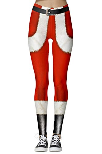 Funcok Womens Active Ugly Christmas Santa Printed Tights High Waisted Workout Leggings Red M