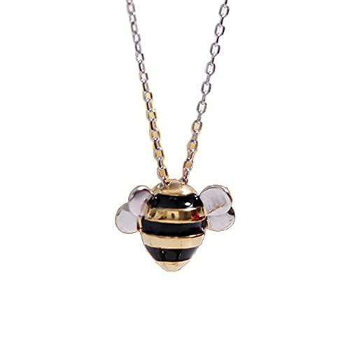 Collar colgante de abeja Sterling generosa moda femenina linda joyería trae suerte y bendición a los amigos
