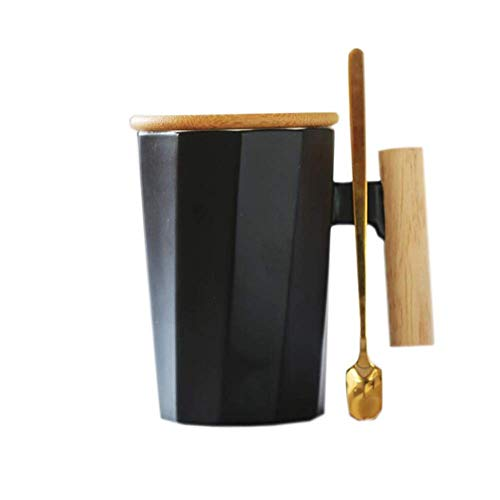 WANBAOAO Hermosamente Conjuntos de té Taza de cerámica, Taza de café con Mango de Madera, Adecuado para Oficina en casa, 12x12.3cm, 330ml (Color: Negro) (Color : Black)