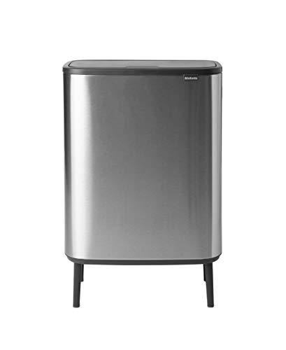 Brabantia Bo Touch Bin Hi Recycling 2x30 Litres, Matt Steel Fingerprint Proof