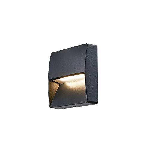 SLV LED Wandleuchte DOWNUNDER OUT SQUARE für die Außen-Beleuchtung von Wänden, Wegen, Eingängen, Treppen , LED Treppen-Beleuchtung, Wandlampe, Wegeleuchte / CCT-Switch 3000K/4000K, 150 Lumen, 4,5W