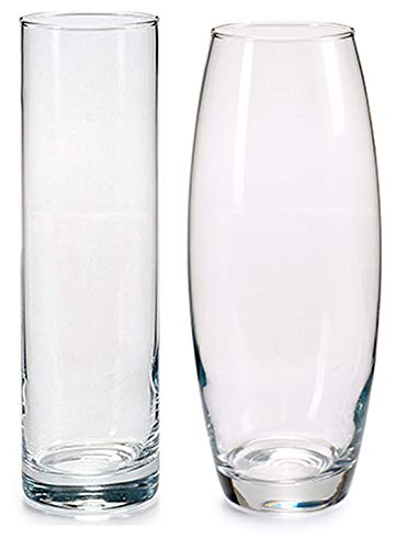 Set of 2 Glass Transparent vase oval & tall - flower vase with two shapes (26.5 x 26 cm)