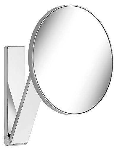 KEUCO Wand-Kosmetikspiegel mit Schwenkarm und Drehgelenk, 5-facher Vergrößerung, 20x20cm, rund, chrom, zur Wandmontage, edles Design, iLook_move