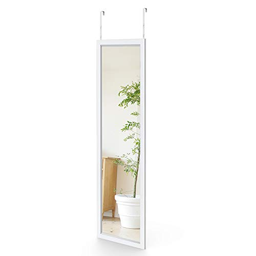 Dripex Wandspiegel 33x119cm Spiegel unbrechbarer Garderobenspiegel Flurspiegel höhenverstellbarer Hängespiegel mit Haken (Weiß)