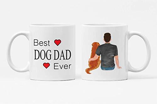 Taza de café con texto en inglés 'Best Dog Dad Ever' – Taza de café de cerámica premium – Taza de café para papá – Regalo de Navidad para padres de amantes de los perros – Taza con texto en inglés