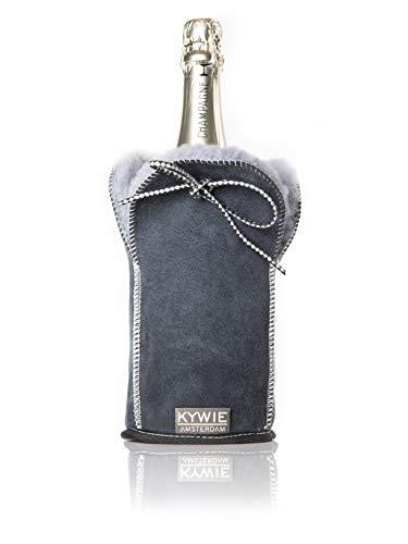 KYWIE Sektkühler, Flaschenkühler für Champagner, Sekt & Prosecco aus Schaffell – Blue Suede