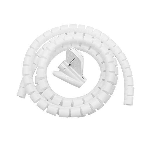 FUJIE Kabelschlauch 28mm x 2m Kabelkanal flexible Kabel Spiralschlauch kürzbar Kabelorganisation mit Einziehhilfe, Weiß