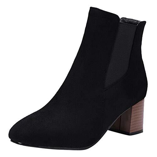 MYMYG Boots Mode Chelsea Boots Frauen Leopard Printed Schuhe Kurze Plüsch Stiefel hochhackige Stiefeletten Wildleder Kurzschaft Stiefel Pumps Ankle Boots