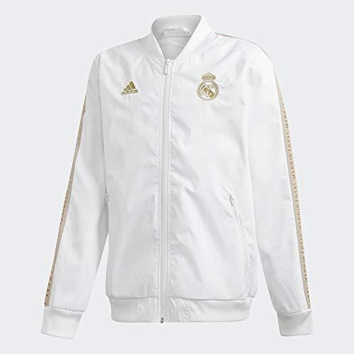 adidas Real Madrid Anthem Jacket Teens Chaqueta, Niños, Blanco (White/Dark Football Gold), 11-12Y