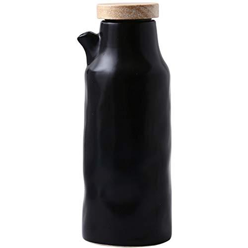 LAYG 400ml Cerámica de Aceite y Vinagre Botella Dispensador,Botella Contenedor de Aceite de Oliva, Vinagre, Salsa de Soja,Aceiteras de Cocina/Black