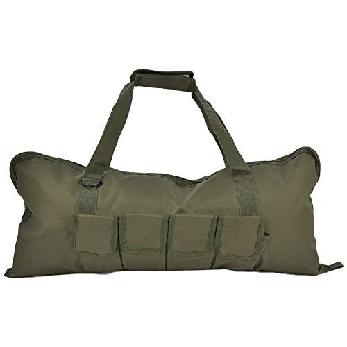 Tbest - Bolsa de lona para el hombro de lona con correas para deportes, gimnasio, camping, senderismo, (verde militar)