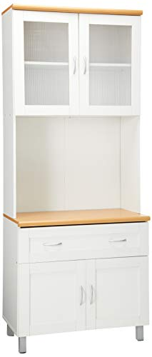 Hodedah Tall Standing Kitchen Cabinet with Top and Bottom Enclosed Cabinet Space, 1-Drawer, Large Open Space for Microwave in White