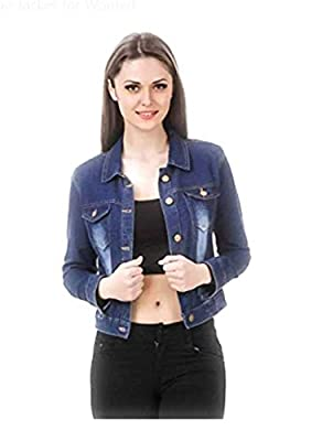 G.S.A ENTERPRISES Denim 3/4 Sleeves Comfort Fit Regular Collar Blue Jacket for Women