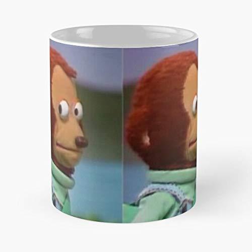 Meme Yikes Puppet Monkey Best Taza de café de cerámica de 325 ml con texto en inglés 'Eat Food Bite John Best Taza de café de cerámica de 325 ml