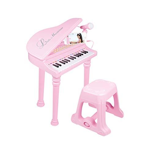 Yavso Kinderklavier mit Mikrofon und Hocker, Klavier Spielzeug Piano Keyboard Kinder mit Mikrofon Musikinstrument für Kinder, Rosa