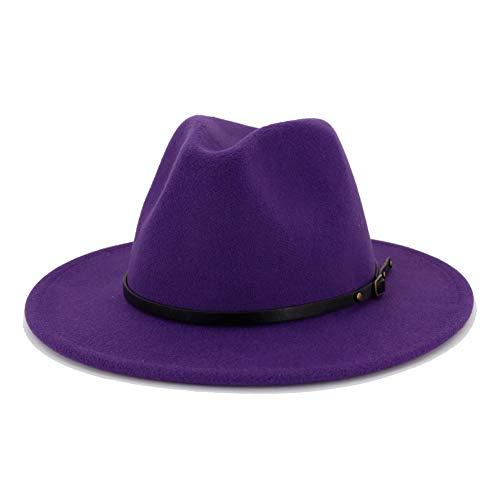 Lisianthus Women Belt Buckle Fedora Hat (Purple)