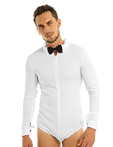 YiZYiF Men's Long Sleeve Ballroom Latin Salsa Dance Shirt Bodysuit Tuxedo Leotard White Medium