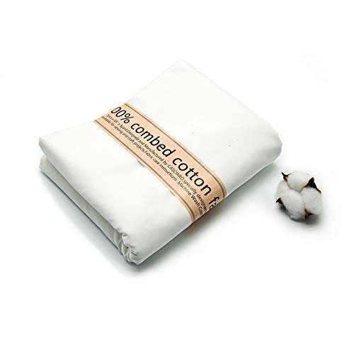 5 Yards, 100% White Cotton Fabric by The Yard, 59 inches Wide,Soft Combed Cotton