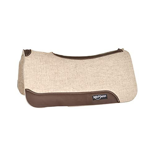"Reinsman Quick-Drying Moisture-Wicking Shock-Absorbing Apex Premium Wool Arena Performance Saddle Pad, 31"" L x 32"" D x 3/4"" T, Brown"