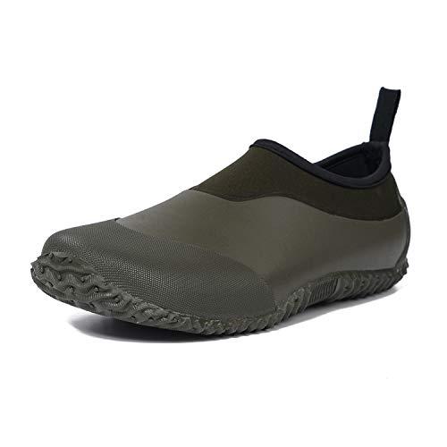 MOCOTONO Unisex Garden Shoes Rain Boots Waterproof Mud Rubber Slip-On Outdoor Footwear for Men and Women (Army Green, 9.5 Women/8 Men)