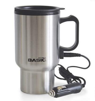 Taza de viaje eléctrica de 12 V de acero inoxidable para café, té, etc. cargador de coche (Acero inoxidable, 400ml)