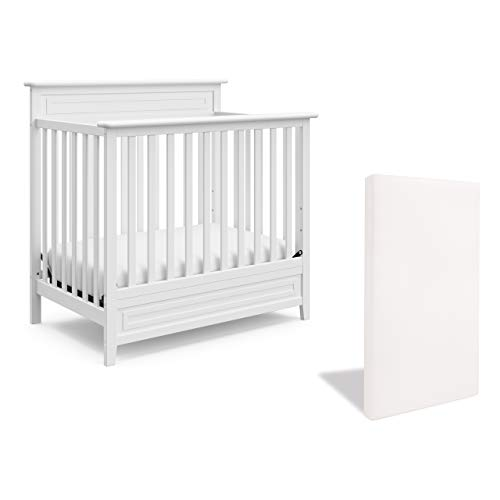 Storkcraft Petal 5-in-1 Convertible Mini Crib with Bonus Mattress – Includes Premium Supportive Crib Mattress with Water-Resistant Cover, Converts to Twin Bed, Baby-Safe, Non-Toxic Finish, White