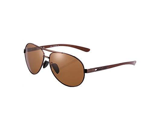 HongTeng Gafas de Sol Ligeras de Fibra de Carbono para Hombre Gafas polarizadas para Mujer Conducción de Viaje Protección UV (Color : Copper Frame Tea Piece)