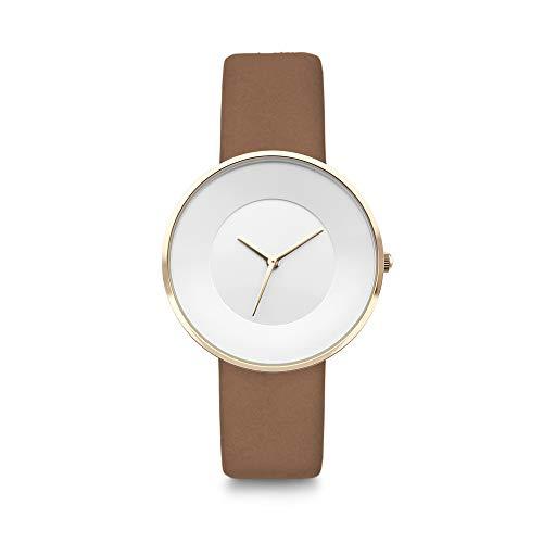Lambretta Cielo Suede cuarzo analógico acero oro blanco piel marrón mujer reloj