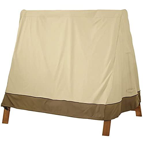 YINAIER Cubo para Muebles de jardín, Funda de Columpio Impermeable para Hamaca de jardín, Funda para Columpio, protección para Muebles de Exterior, Beige + café, 72X55X67 Pulgadas