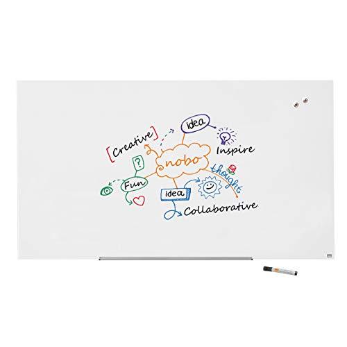 Nobo Glas Magnet-Whiteboard mit herausnehmbarem Stiftehalter, 1900 x 1000 mm, InvisaMount Befestigungssystem, Impression Pro, Brillantweiß, 1905178
