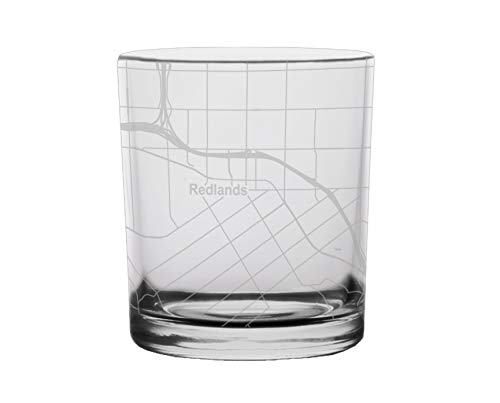Redlands City Map Whiskey Glass California