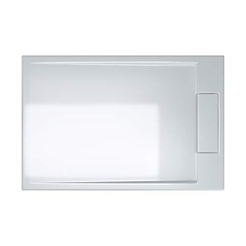 doporro Duschtasse Duschwanne Geoma04W 80x120x4 flach Mineralguss rechteckig Weiß auch für ebenerdige Dusche geeignet