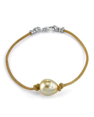 11 mm, dorato, barocco, Braccialetto in pelle con perla d'acqua dolce coltivata, AAAA