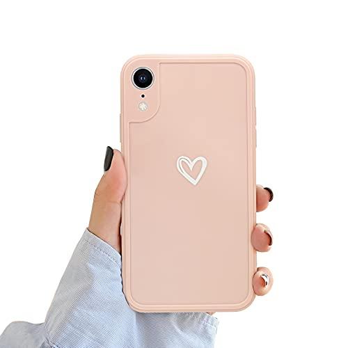 Newseego Funda Compatible con iPhone XR, Carcasa Protectora Antigolpes con Parachoques de TPU Suave para iPhone XR Delgada Funda Love Heart Anti-Choques Case de Telefono para iPhone XR-Rosa