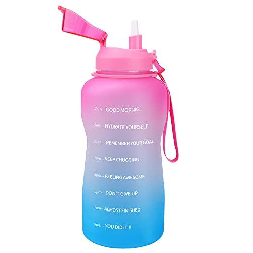 Azebo Botella de agua de 3,8 l, sin BPA, reutilizable, a prueba de fugas, para la oficina al aire libre, 3,8 litros, color rosa y verde menta