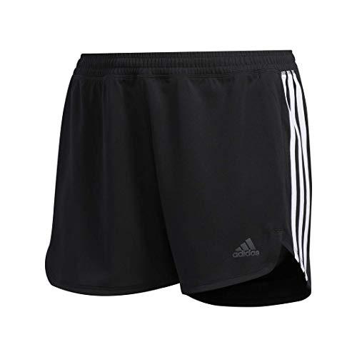 Adidas - Pantalones cortos de entrenamiento para mujer con 3 rayas - S17APW913, S, Negro/Blanco