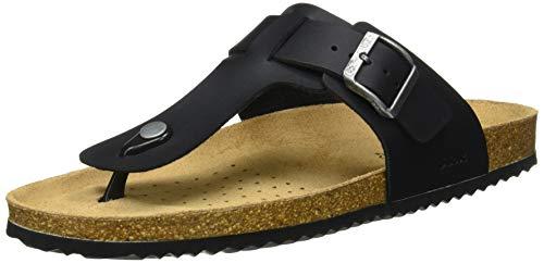 Geox Mens U Sandal Ghita D Flip-Flop, Black,43 EU
